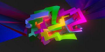 """Zeer kleurrijk 3D Graffiti kunstwerk met de naam """"Tez"""" van Pat Bloom - Moderne 3d en abstracte kubistiche kunst"""