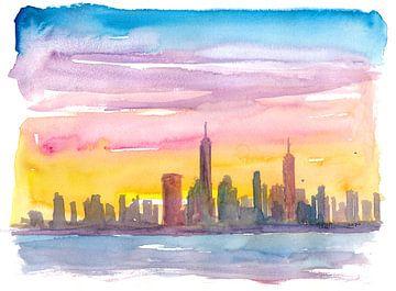 Die Skyline von New York City in goldener Abendstimmung von Markus Bleichner