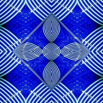 fotoGrafiek 84 (Blue cups 2) van Hans Levendig (lev&dig fotografie)
