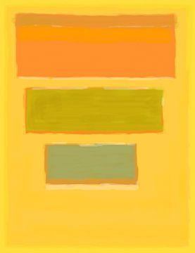 Peinture abstraite de jaune, orange et vert sur Rietje Bulthuis