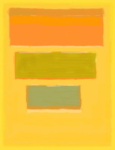 Abstraktes Gemälde mit gelb, orange und grün