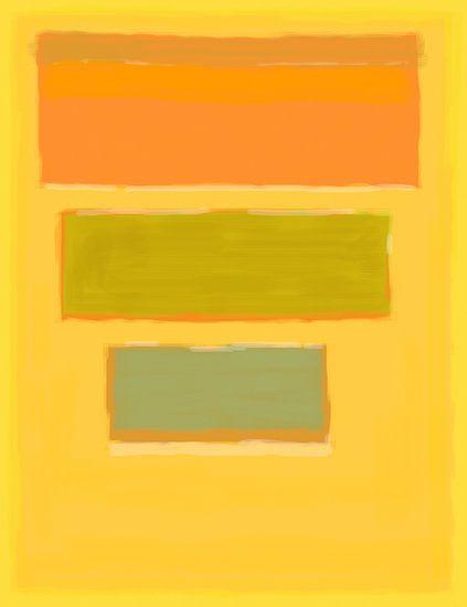 Abstract schilderij met geel, oranje en groen