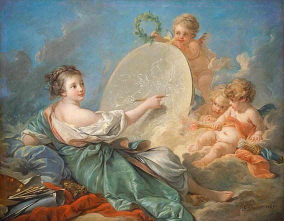 François Boucher. Allegorie van de schilderkunst van 1000 Schilderijen