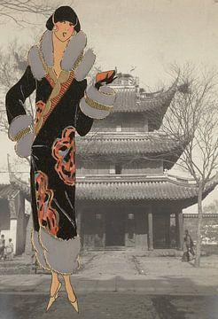 Dame bij een Chinese tempel van Irene Hoekstra