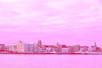 Dordrecht - Skyline - in rode tint van Ineke Duijzer