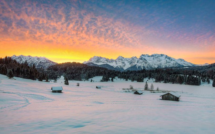 Winter in the Alps van Michael Valjak