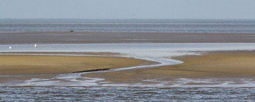 Droogvallende Waddenzee - Engelsmanplaat van Meindert van Dijk