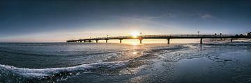 Strand met de pier van Scharbeutz uit Scharbeutz aan de Oostzee van Fine Art Fotografie