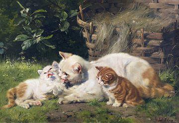 Moederkat met haar twee kittens, Julius Adam, ca 1900