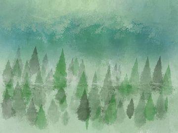 Wald Aquarell Grün Blau von Patricia Piotrak