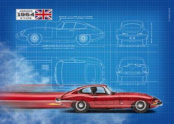 Jaguar E-Type Coupe Blauwdruk van Theodor Decker