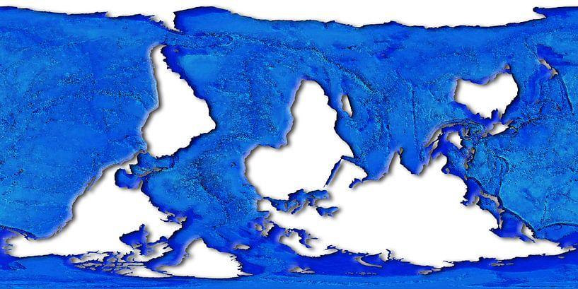Wereldkaart, dolfijnprojectie van Frans Blok