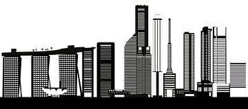 skyline singapore stad in azie met hoogbouw en hotels van Compuinfoto .