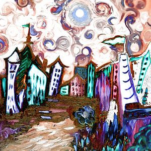 Any Town -Van Gogh Inspired von Rhonda Clapprood