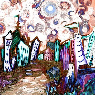 Any Town -Van Gogh Inspired van Rhonda Clapprood