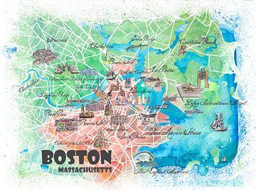 Boston Massachusetts USA Illustrierte Karte mit den wichtigsten Straßen, Sehenswürdigkeiten und High von Markus Bleichner