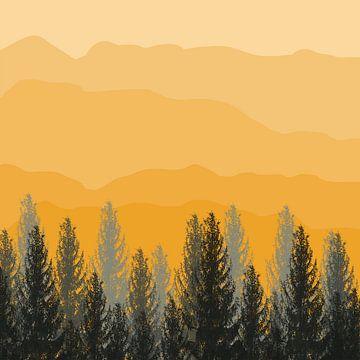 montagnes jaunes sur Kim van Beveren