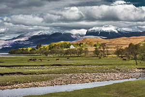 Verschneite Berge von Ben Nevis in Schottland