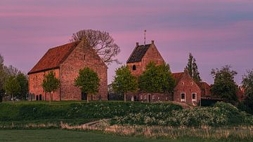 Sonnenuntergang in Ezinge, Groningen, Niederlande