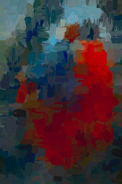 Abstract rood blauw van Leo Luijten