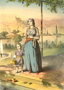 Turkije Turkey Türkiye 1862  Turkse vrouw en kind