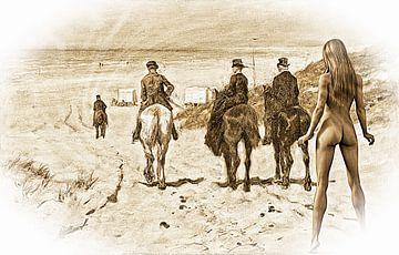 Reiter am Strand mit nackter Frau von ellenilli .