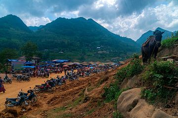 Vietnam: Cán Cấu markt in vogelvlucht (Giang Ta Chai) van Maarten Verhees