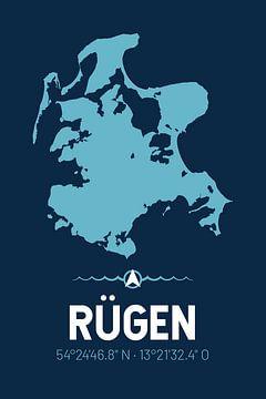 Rügen | Design-Landkarte | Insel Silhouette von ViaMapia