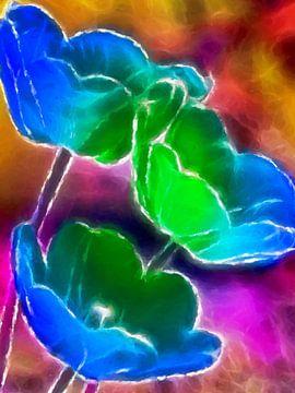 Tulpen blauw-groene abstract van Marion Tenbergen