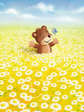 schattige beer in bloemenweide van Stefan Lohr