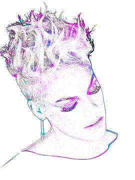 P!nk Pink Modernes abstraktes Porträt in Rosa, Violett, Blau von Art By Dominic