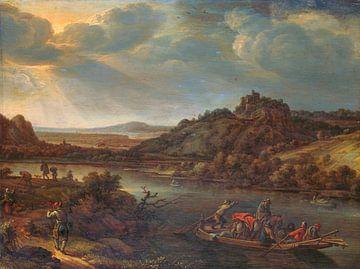 Flussblick mit Fähre, Herman Saftleven