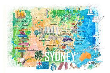 Sydney Australien Illustrierte Karte mit Hauptstraßen Sehenswürdigkeiten und Highlights von Markus Bleichner