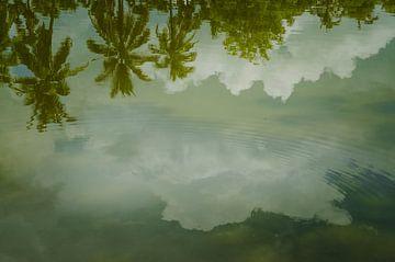Reflectie bij Wat Sa Si tempel in Sukothai, Thailand van Sven Wildschut