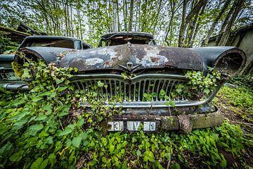Oldtimer auto in het bos van Inge van den Brande