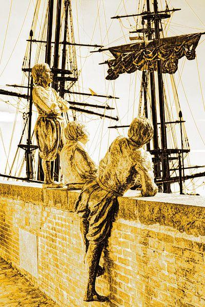 Hoorn Noord-Holland Pays-Bas Garçons du capitaine Bontekoe Gold sur Hendrik-Jan Kornelis