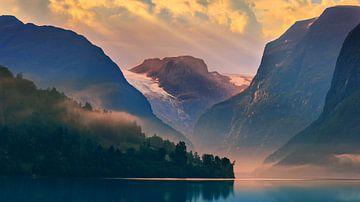 Sunrise Lovatnet, Norwegen. von Henk Meijer Photography