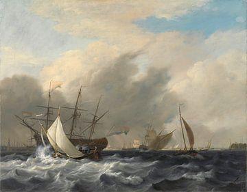 's Lands oorlogsschip 'Amsterdam' voor de Westerlaag op het IJ voor Amsterdam., Nicolaas Baur sur