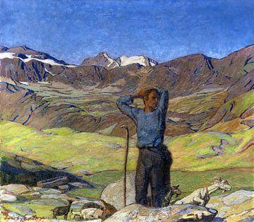 Juni-Morgen (Ziegenhirte im Engadin), ERICH ERLER, Um 1900 von Atelier Liesjes
