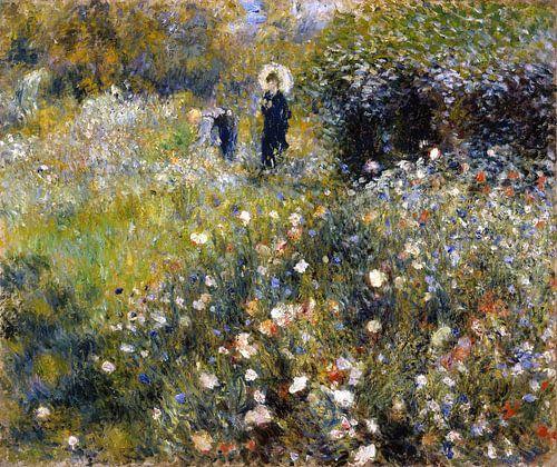 August Renoir. Vrouw met parasol in tuin van 1000 Schilderijen