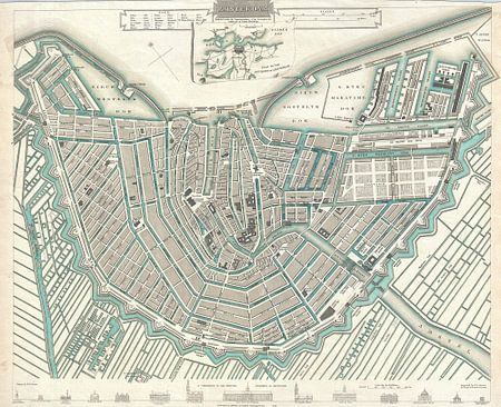 Amsterdam, historische plattegrond van 1000 Schilderijen