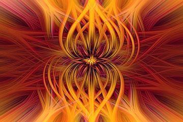 Abstract rood en geel van Marga Vroom