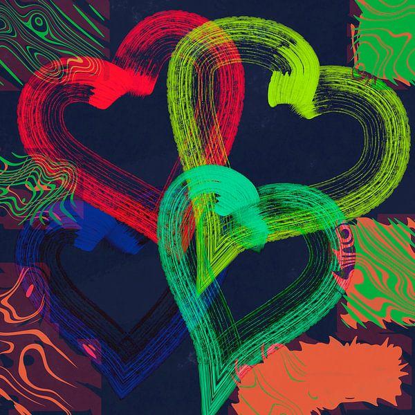 Colorful hearts 2 van Rosi Lorz