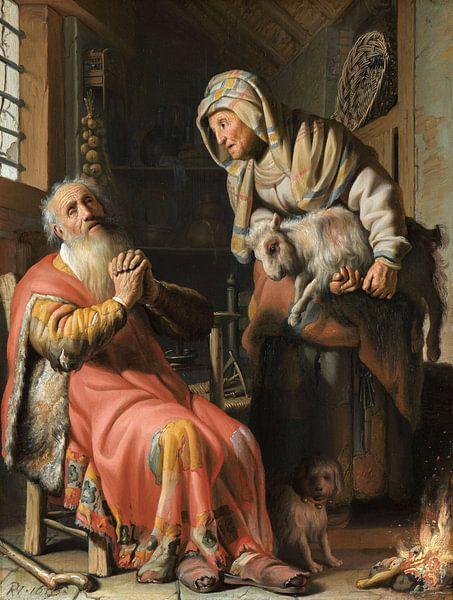 Rembrandt van Rijn.  Tobit en Anna met het bokje van 1000 Schilderijen
