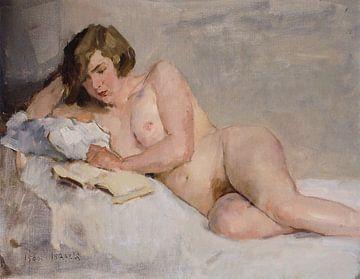 Lezend Naakt op Bed | Schilderij van Isaac Israels | Naaktschilderij van Schilderijen Nu