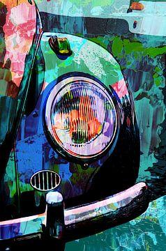 Volkswagen Kever oldtimer auto in mixedmedia stijl van The Art Kroep