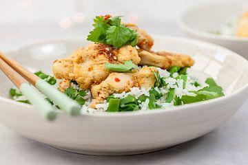 Chili-citroengraskip met rijst van