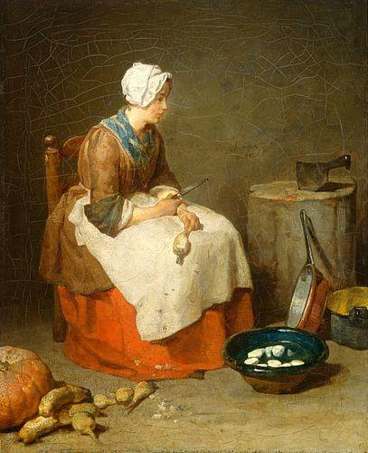 Het keuken meisje, de dienstbode, Jean Siméon Chardin