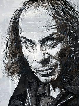 Ronnie James Dio, (Black Sabbath) schilderij van Jos Hoppenbrouwers