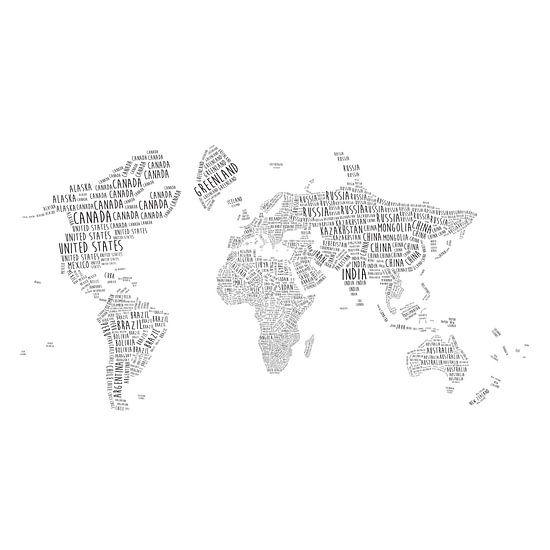 Typografische Wereldkaart Wandcirkel | Engelstalig